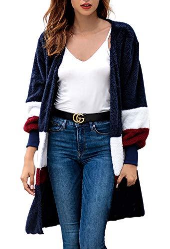 Ragazza Ragazza Donna Donna Donna Cardigan Invernali Outwear Giacca Cappotto Scuro Blu Lanoso Libero Cucitura Autunno Sciolto Felpata A Tempo Manica Lunga Lunga Maglia Colori 01drxd
