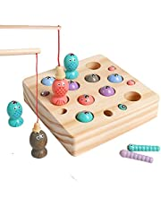 HOONEW Wooden Magnetic Fishing Game Fine Motor Skill Toy Catching Counting Color Sorting Puzzle Montessori Math Game Preschool Gift for 2 3 4 Years Old Toddler Kid Early Learning with 2 Polel