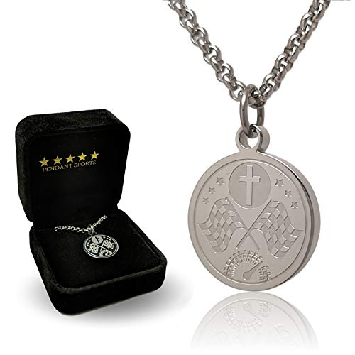 (Prayer Necklace Crafted in Stainless Steel with Luke 1:37 on The Back, Presented in a Black Velvet Box Available in Baseball, Football, Hockey, Racing, Soccer, Volleyball and Basketball)