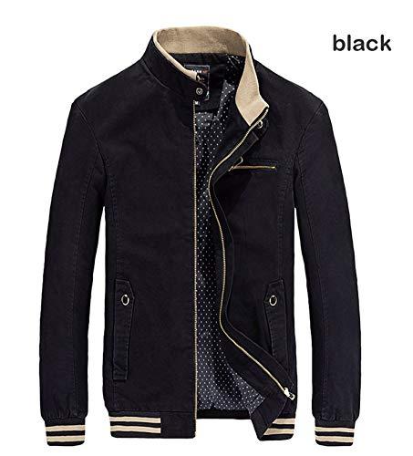 ZHANGZZ 2018 Men Casual Men's cottoon and Coat Mens Stander Collar Veste Homme,Black -