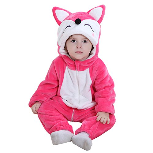 Halloween Costumes Mn (MerryJuly Baby Winter Romper Girls Boys Cartoon Hooded Jumpsuit Overolls Outfits Pink Fox 80cm/(6-12)
