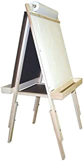 product image for Beka Adjustable Double-Sided Easel Combo #3, Magnetic and Chalkboard Surfaces, Top Paper Holder, Natural Wood Trays