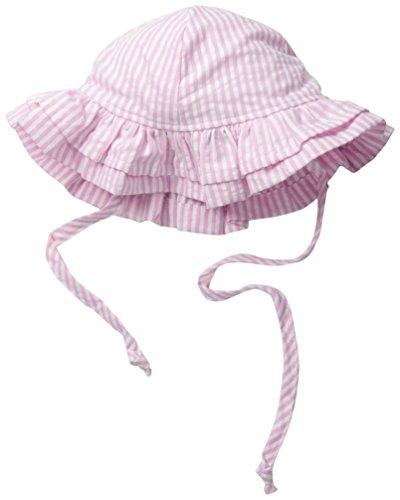 Flap Happy Baby Girls' UPF 50+ Double Ruffle Hat, Pink Stripe Seersucker, Large