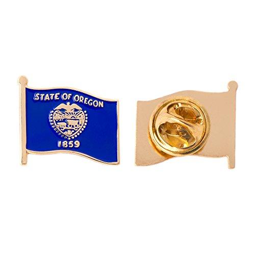 Oregon Or State Flag Lapel Pin Enamel Made Of Metal Souvenir Hat Men Women Patriotic Oregonian  Waving Flag Lapel Pin