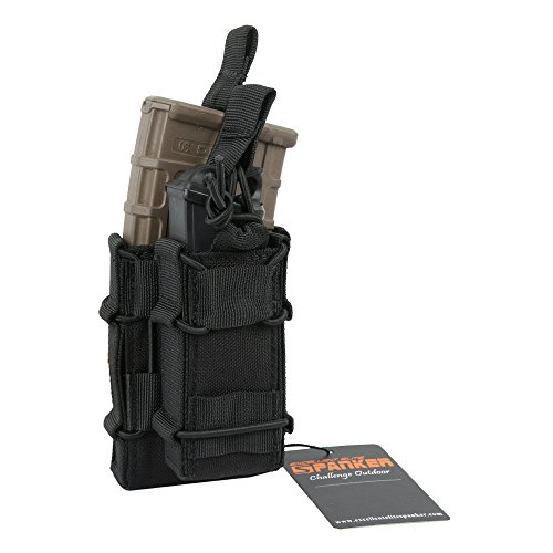 Excellent Elite Spanker Tactical MOLLE Double Stacker M4 Mag Pouch with Pistol Mag (Rifle Vest)