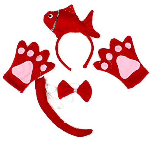 Fish Headband Costume (Petitebella Cute Red Fish Headband Bowtie Tail Gloves Costume Party for Women (One Size))
