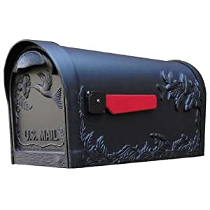 Bundle-98 Hummingbird Curbside Post Mounted Mailbox (2 Pieces) Finish: Black, Magazine Rack: No
