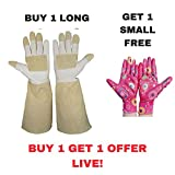 Thornproof Pigskin Leather Gardening Gloves Long Sleeve For Women and Men, Rose Pruning Floral Gauntlet Garden Gloves| Extra pair of Lightweight Nitrile Garden Gloves also included