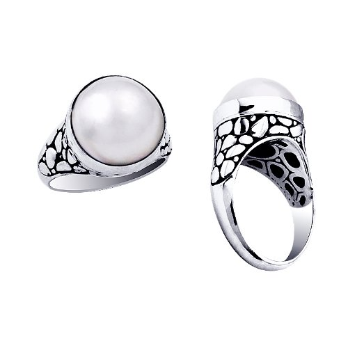 Sterling Silver Ring With Round Mabe Pearl AR-1000-PE-6