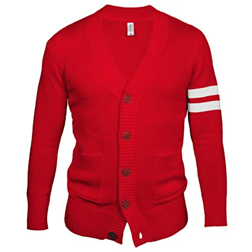 Hip Hop 50's Shop - Mens 1950s Letterman Cardigan Sweater (Large, Red)
