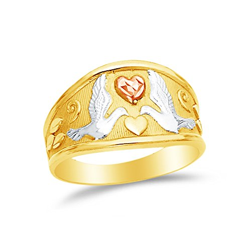 Sonia Jewels Size - 6-14k Rose Yellow & White Gold Fancy Fashion Dove Heart Ring