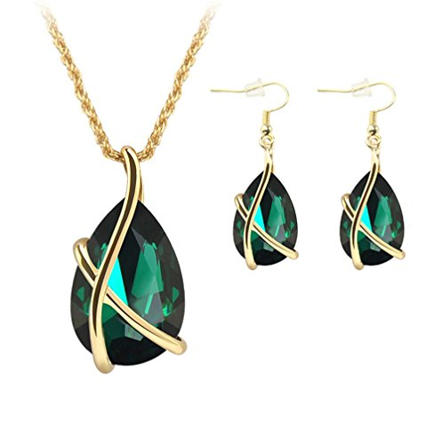 ZINSBEDI Gold Plated Green Crystal Stone Pendant Necklace Earrings Jewelry Set (Green)
