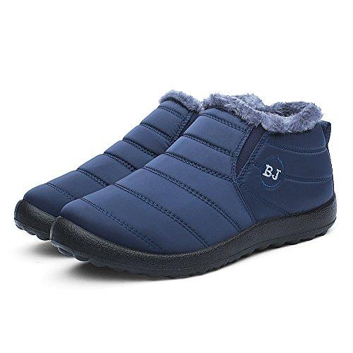 CIOR Herren und Damen Schneeschuhe Fell Gefüttert Winter Outdoor Slip On Schuhe Stiefeletten Blau