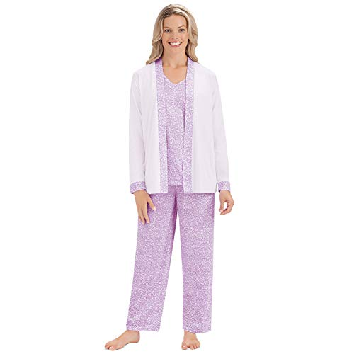 Women's 3 Piece Cozy Sleepwear Set w/Light Floral Design - Shirt, Jacket and Pajama Pants, Lilac, Medium