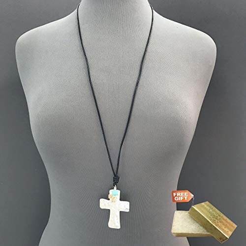 - Black Genuine Leather Double Hammered Silver Cross Shape Pendant Necklace Set For Women + Gold Cotton Filled Gift Box for Free