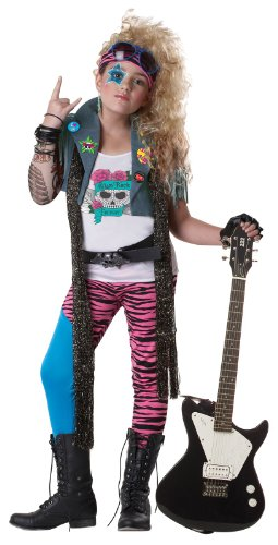 California Costumes 80's Glam Rocker Child Costume, Medium (Rocker Girl Halloween Costume)