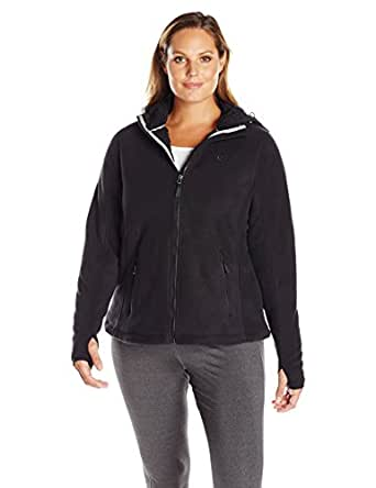 Champion Women's Plus Size Fleece Jacket with Hood, Black, 1X