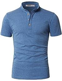 Men's Slim Fit Casual Short Sleeve Mandarin Collar Button Henley T-Shirt