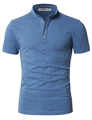 IDARBI Men's Slim Fit Casual Short Sleeve Mandarin Collar Button Henley T-Shirt SkyBlue S - Mandarin Collar