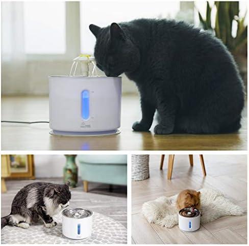Fuente de agua para gatos de acero inoxidable, 81 oz / 2,4 L, bomba inteligente con indicador LED para alerta de escasez de agua, ventana de nivel de agua 7