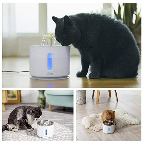 Pet Fountain Cat and Dog Fountain Stainless Steel Top 2.4L Pet and Cat Water Dispenser Cat Water Fountain Ultra Quiet Water Level Window with LED Light 3 Ways to Enjoy Drinking Cleaning Brushes by Wonder Creature (Image #5)
