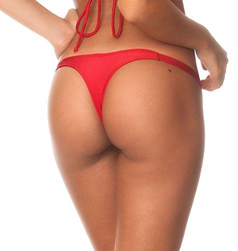 Coqueta Sexy Teeny Mini Brazilian Bikini Thong Swimsuit Bottom Swimwear RED-MEDIUM