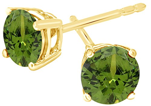 Simulated Green Peridot Round Shape Stud Earrings In 14K Yellow Gold Over Sterling Silver (1 (Shape Peridot Wedding Set)