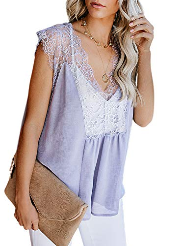 Sidefeel Women Crochet Lace Tank Top Sleeveless Loose Fitting Tunic Medium Gray