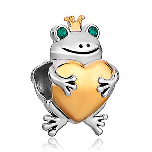 Frog Animal Charm - JewelryHouse Animal Charms Lovely Frog/Cat/Dog/Penguin Bead Charms For Bracelets (The Frog Prince)