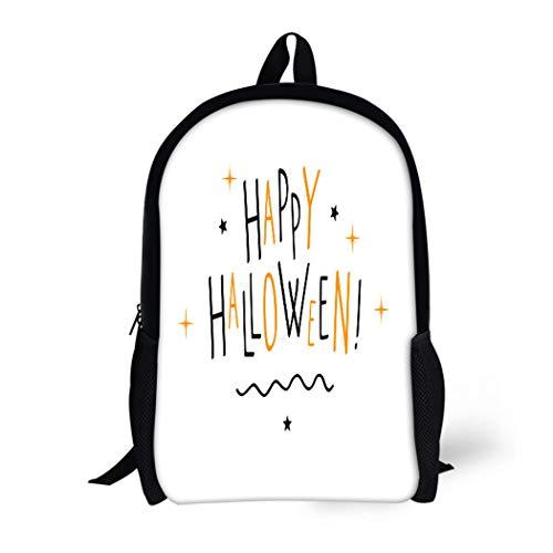 Pinbeam Backpack Travel Daypack Orange Text Happy Halloween Letter Doodle Fun Autumn Waterproof School Bag ()