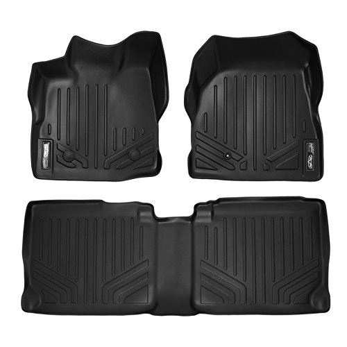 SMARTLINER Floor Mats 2 Row Liner Set Black for 2011-2017 Chevy Equinox/GMC Terrain Dual Front Floor Posts
