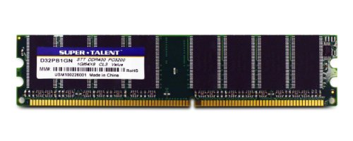 Super Talent Computer Ram (Super Talent DDR400 1GB/64X8 No Heatsink Memory D32PB1GN)