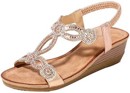 Women Rhinestone Vintage Wedge Sandals