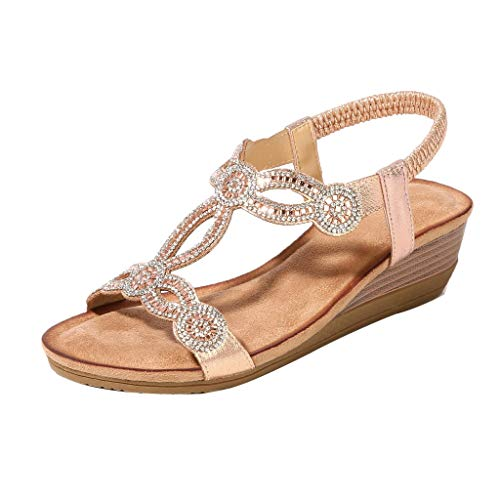 - Toimothcn Women Ethnic Flat Sandals Roman Shoes Rhinestone Beading Snake Beach Sandals(Gold1,US:5.5)