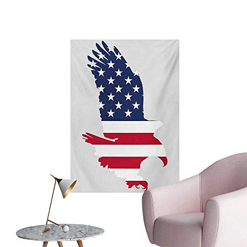 Anzhutwelve Eagle Wallpaper Stars and Stripes on a Bald Eagle American Way of Life Bird SymbolNavy Blue Dark Coral Beige W20 xL28 Custom Poster (Beige Faux Stripe Wallpaper)