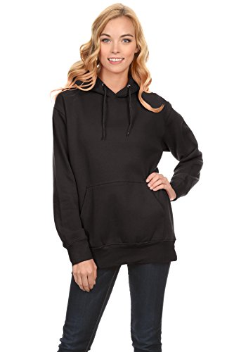 Simlu Black Hoodie Pullover, Black Sweatshirt for Women, Black Pullover Hoodie, Black, Small