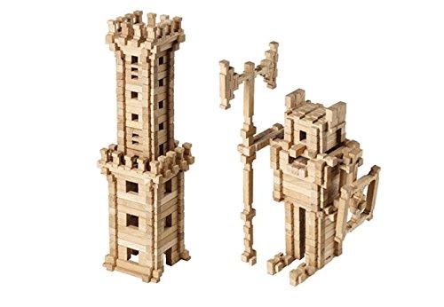 Igroteco Wooden Building Blocks for Kids Tower - Natural Sensory Toys for Autistic Children - 213 PCS - STEM Toys Building Logs for Girls & Boys