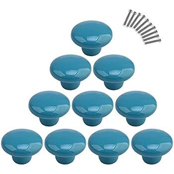 10Pcs Dresser Knobs, YIFAN Cute Drawer Pulls for Kids' Room Ceramic Door Cabinet Handles - Blue