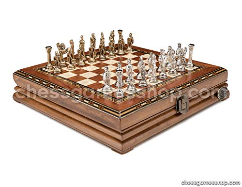 - Luxury Chess Set - Antique Rosewood Board in Mosaic Art with Bzyantin Chess Pieces - Gift Item