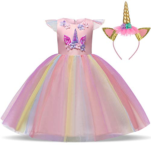 TTYAOVO Girls Unicorn Costume Dress Kids Applique Birthday Party Princess Dresses Size(130) 5-6 Years Pink