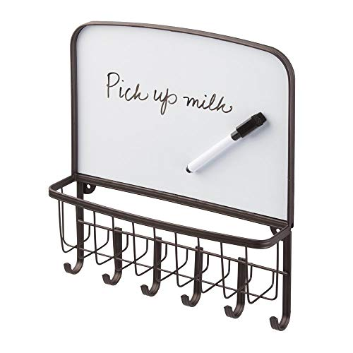 mDesign Metal Wall Mount Entryway Storage Organizer