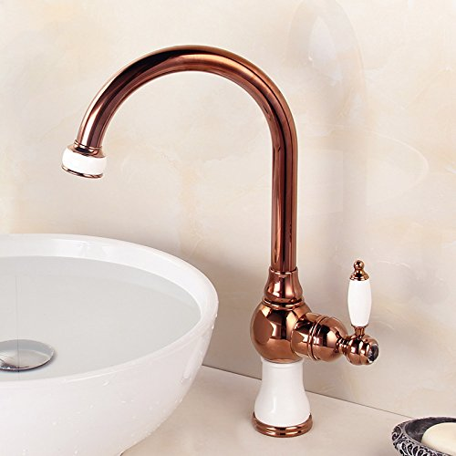 3 WSWQWL All Copper European Style Kitchen Faucet pink gold Single Hole Basin Faucet Art Basin Counter Basin Jade Faucet Bathroom faucet (color    1)