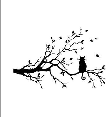 Tefamore Pegatina De Pared de la Gato en el árbol largo Rama ...