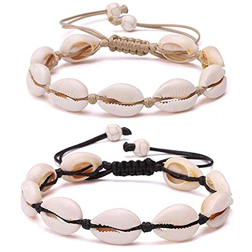 2 PCS Handmade Cowrie Shell Beads Chain Anklet for Women Teen Girls Macrame Adjustable Knot Hawaiian Jamaican Style Ankle Bracelets Foot Jewelry Graduation Vacation Gift (black/white-two pieces)