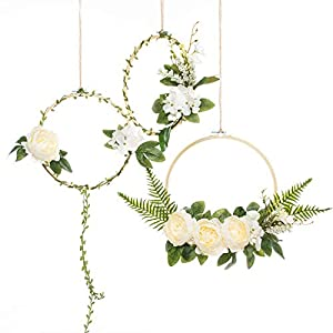 UNIQOOO Set of 3 Floral Hoops Wreaths   Modern Chic Artificial White Peony Fern Flower Wall Hoop Garland   Perfect for Wedding Decor Bridal Shower Farmhouse Decoration Photo Prop Welcome Wreath 1