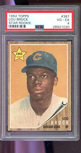 (1962 Topps #387 Lou Brock Cardinals ROOKIE RC VG-EX PSA 4 Graded Baseball Card)
