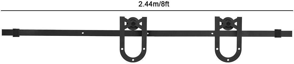Pom 2.44m Single Door Industrial Wheel Sliding Barn Wood Door Interior Kitchen Door Track NITRIP Carbon Steel