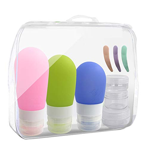 Travel bottles Set, YuCool Silicone Leakproof Travel Containers with Cream Boxes and Mini Spatulas for Shampoo Lotion Soap Shower Gel and More-9 - Oz Body 35