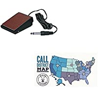 MFJ Foot switch PTT, 1/4in plug, 10ft cord and Ham Guides TM Pocket Reference Card Bundle