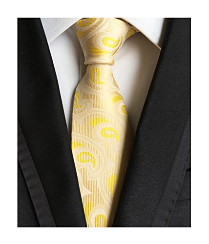 Men Boys Light Yellow Jacquard Woven Silk Tie Office Ball Party Necktie New Year